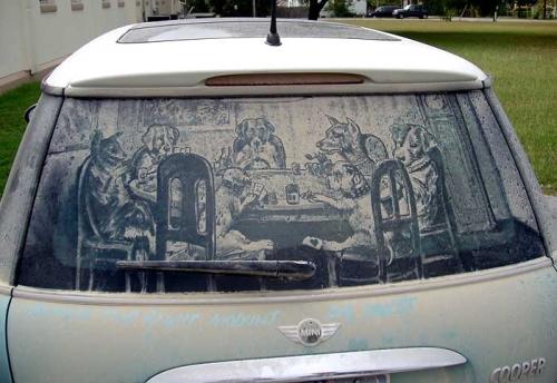 dirty car art reverse graffiti green graffiti sch ner w. Black Bedroom Furniture Sets. Home Design Ideas
