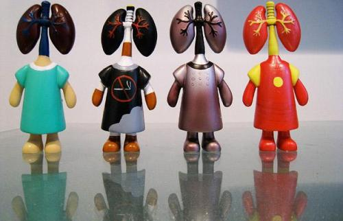 Four different lung dolls, including Smoker's Lungs, Iron Lungs and Invincible Lungs Picture: WENN