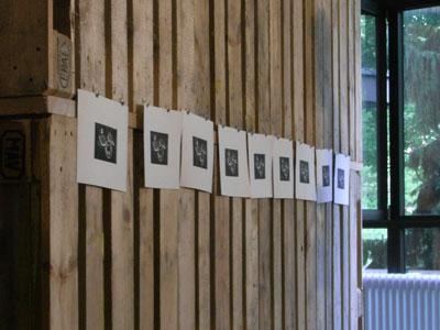 """Handgefertigte Illustrationen (Linoldrucke) auf der Vorstellung des Buches """"Smart Surfaces"""" im Modulor Haus"""