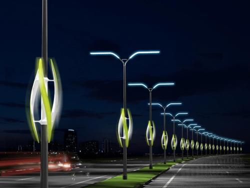 Light up city by harvesting renewable energy contained in the air turbulence generated by passing traffic