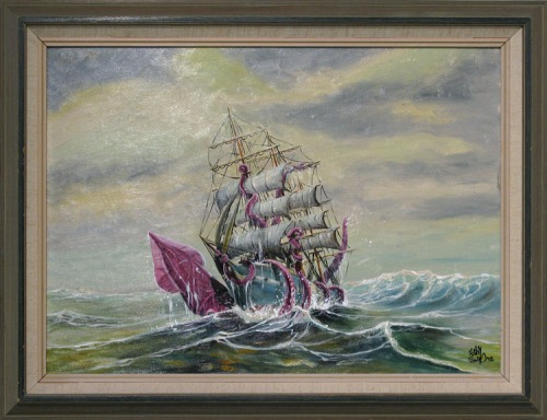 Giant squid and water details in acrylics painted on top of antique marine oil painting