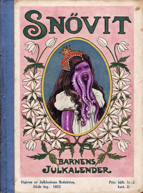 Cthulu face in acrylics painted on top of 1920′s book cover
