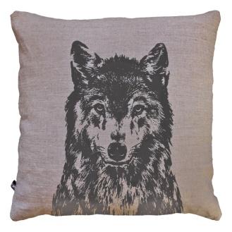 Leinenkissen 'Wolf' - natur